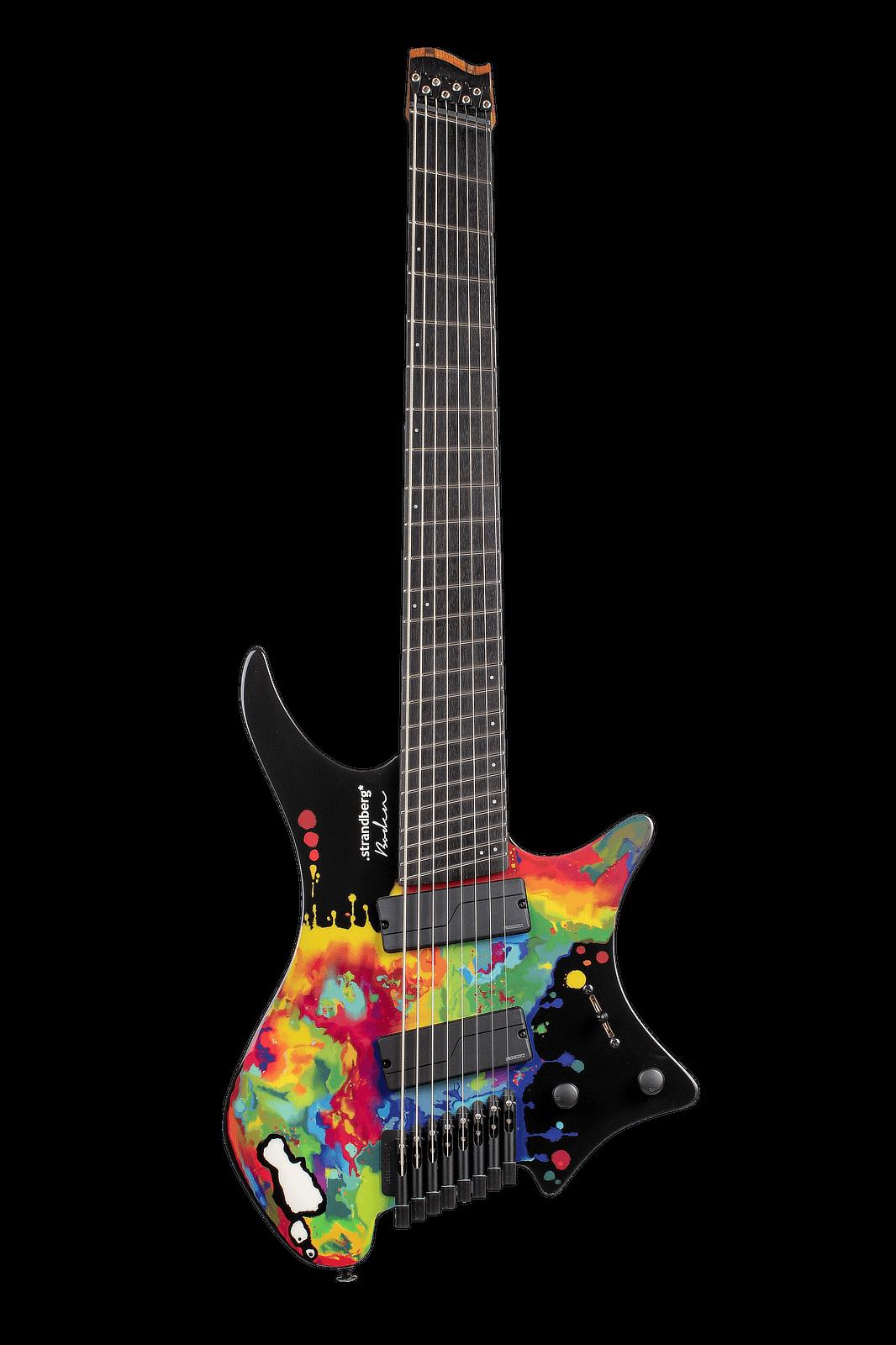 Sara Longfield 7 string headless guitar front view