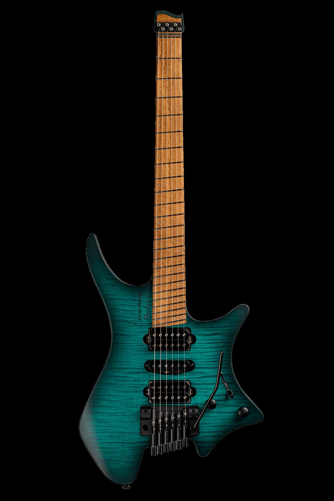 Headless Guitar Boden Metal 6 string trem trans teal front view