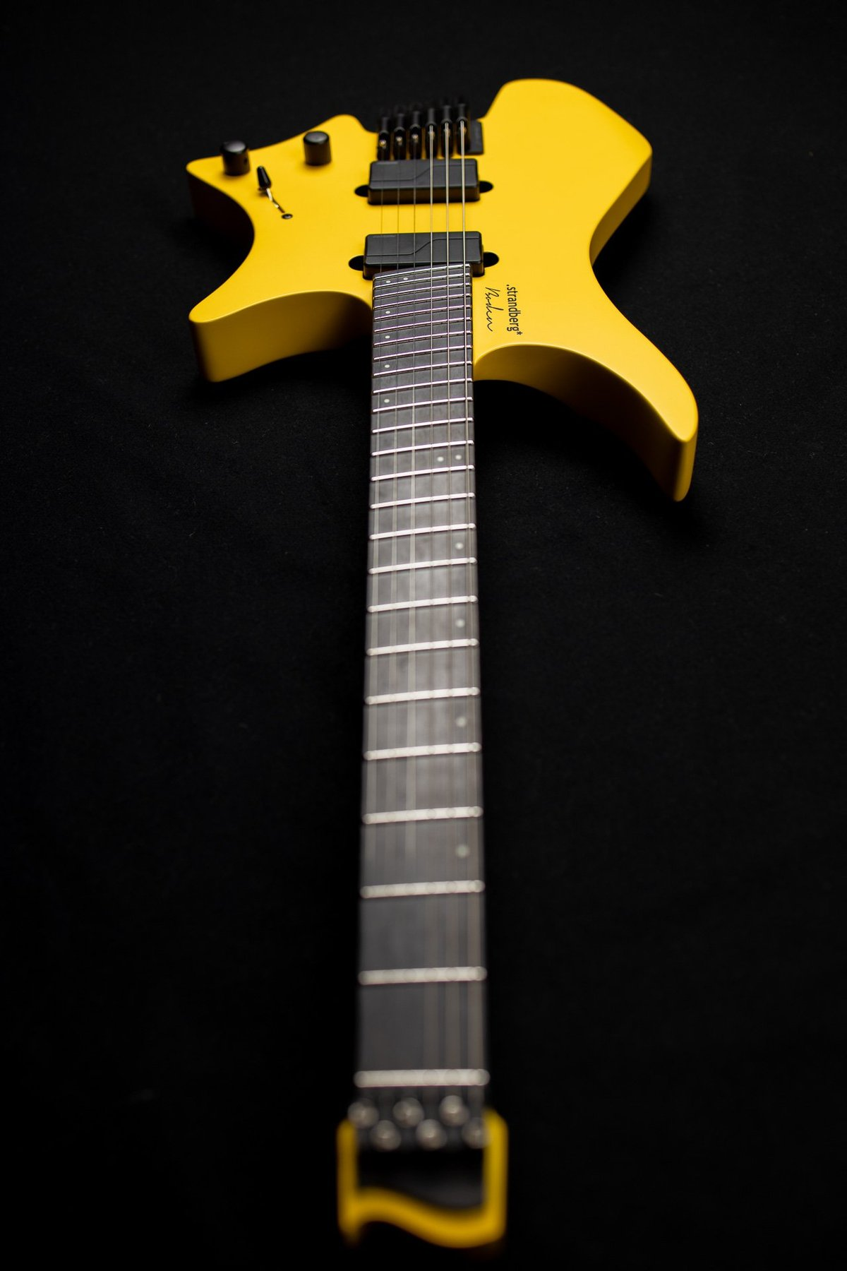 Headless Guitar Boden Metal 6 string yellow front view