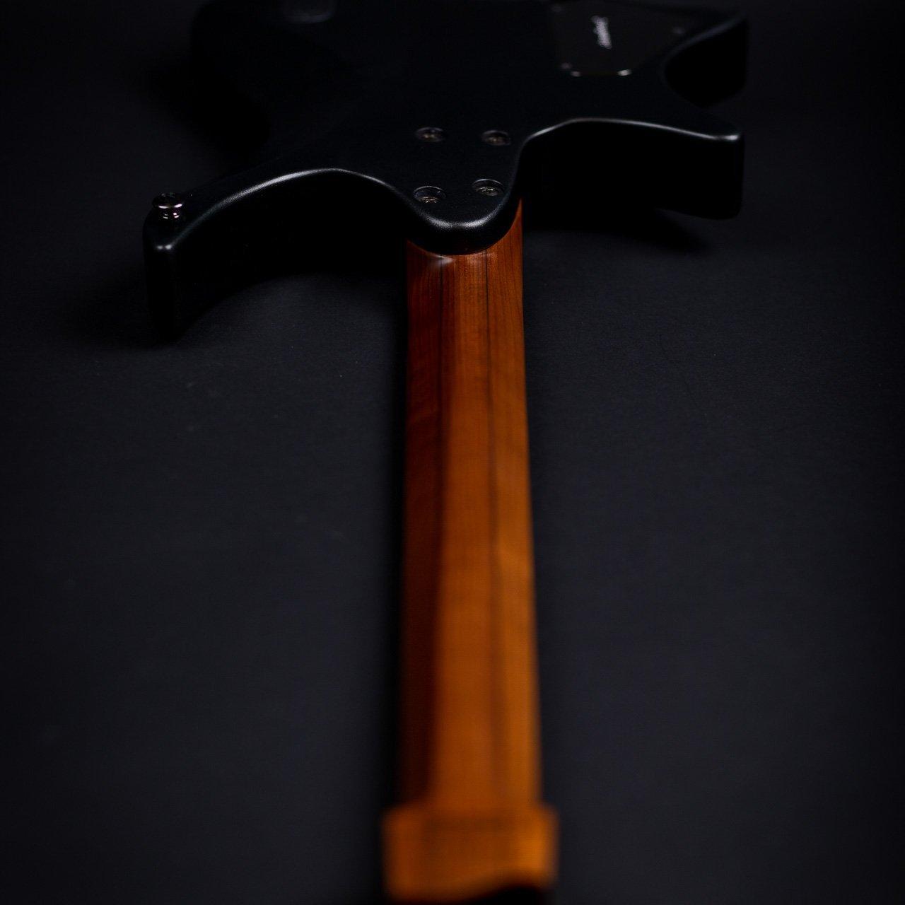 Headless guitar boden metal black 7 string back view