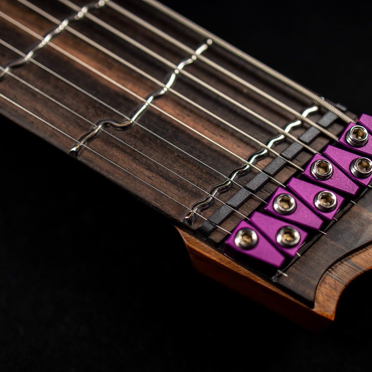 Boden true temperament 8 string headless guitar neck shot