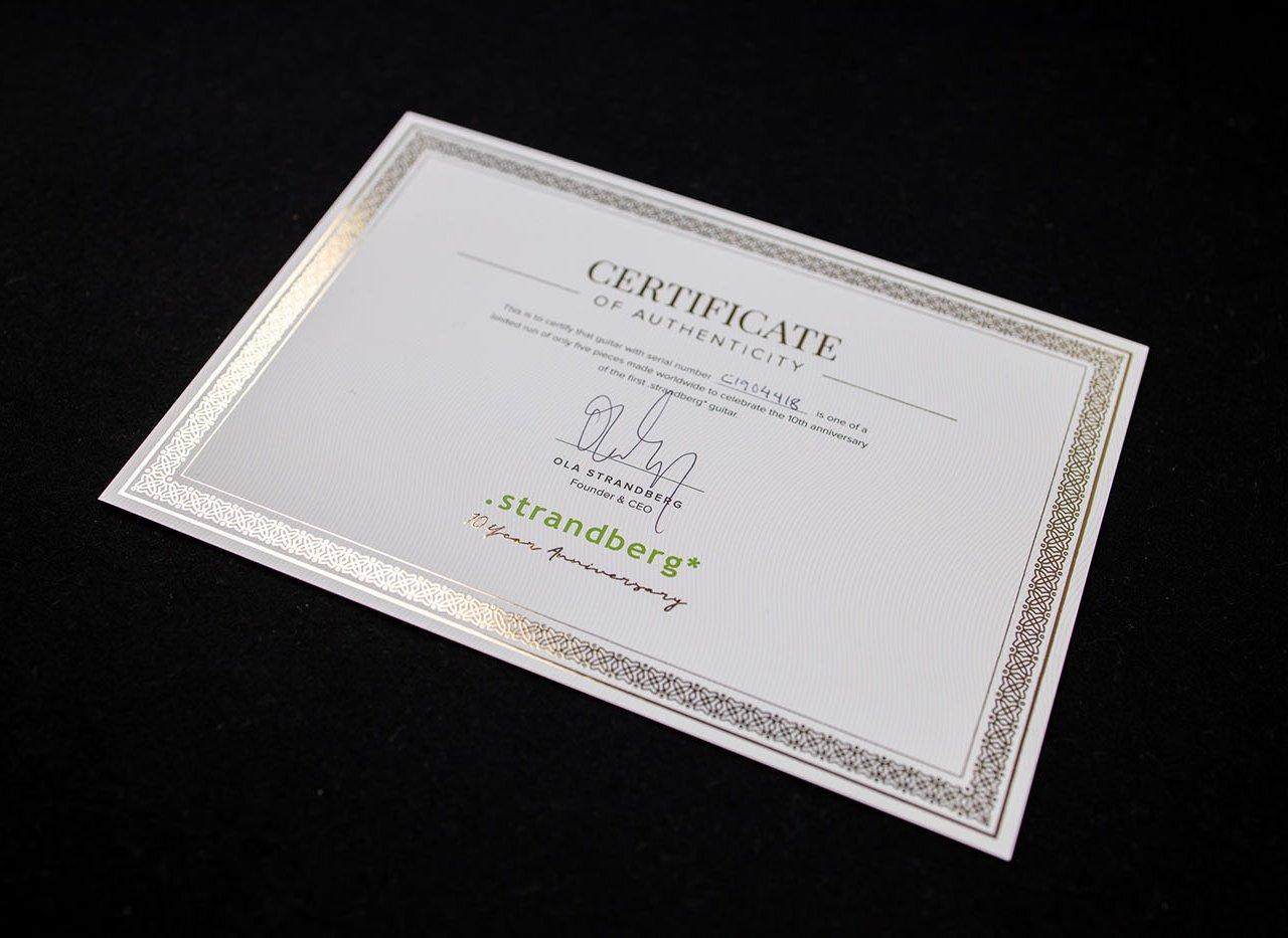 10 year anniversary certificate strandberg headless guitars