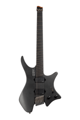 Headless guitar boden metal black 6 string front view