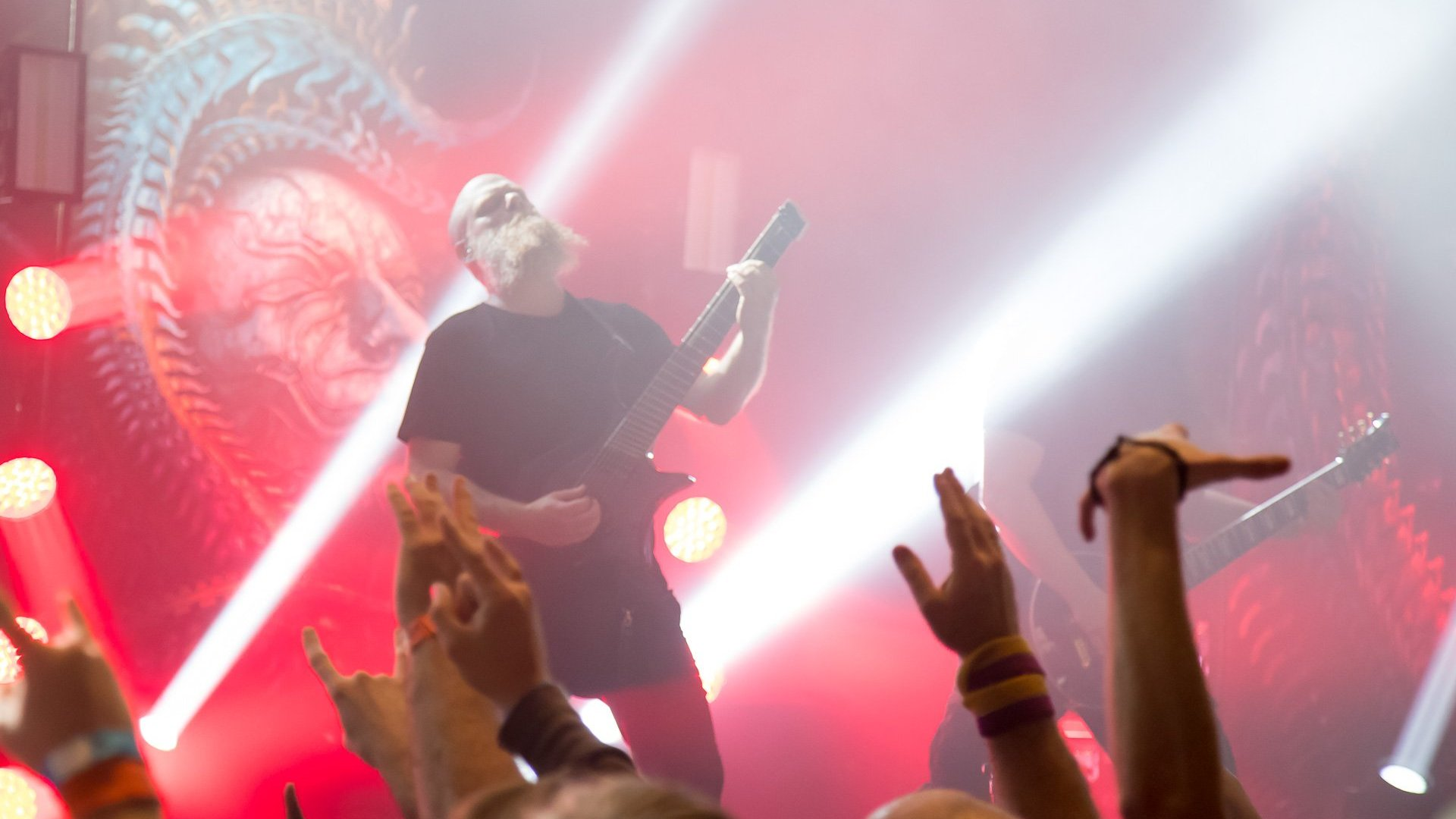 Per Nilsson on stage with Headless Guitar Boden Singularity 7-string Red Swirl