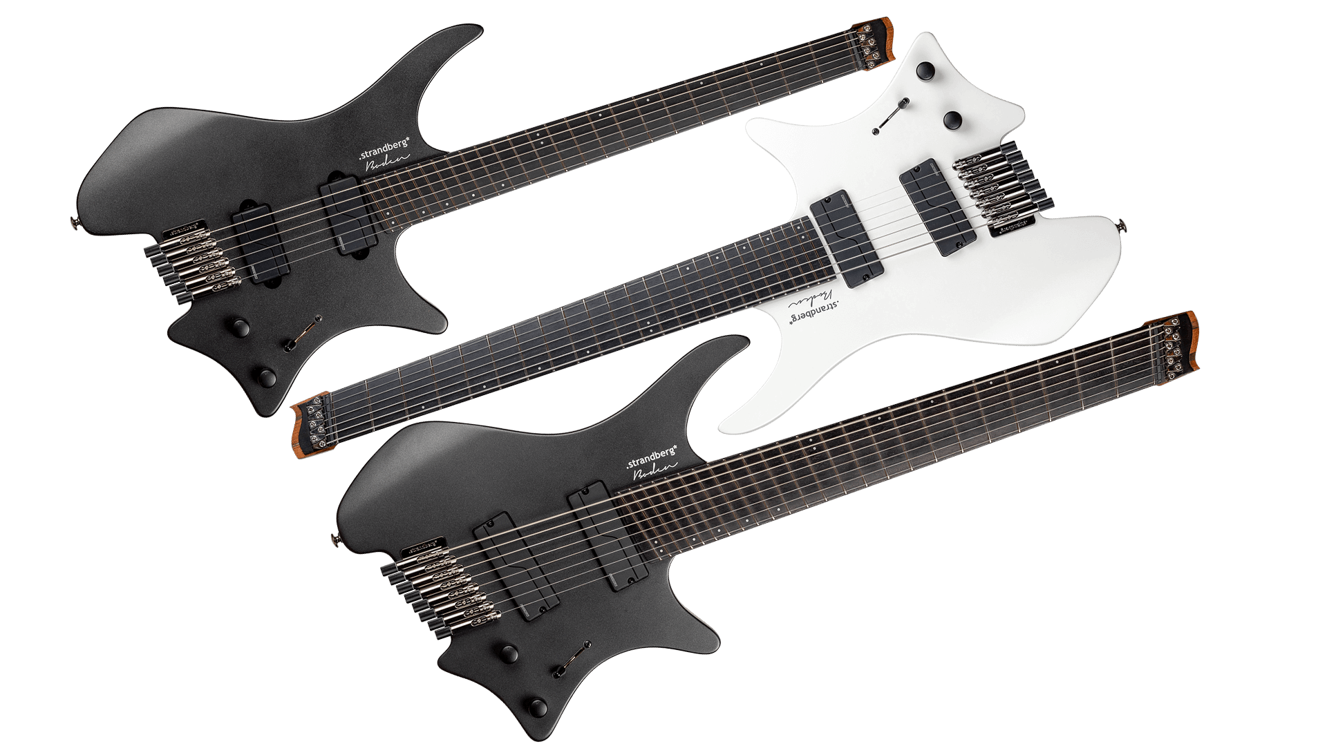 Headless guitars boden metal white and black side by side