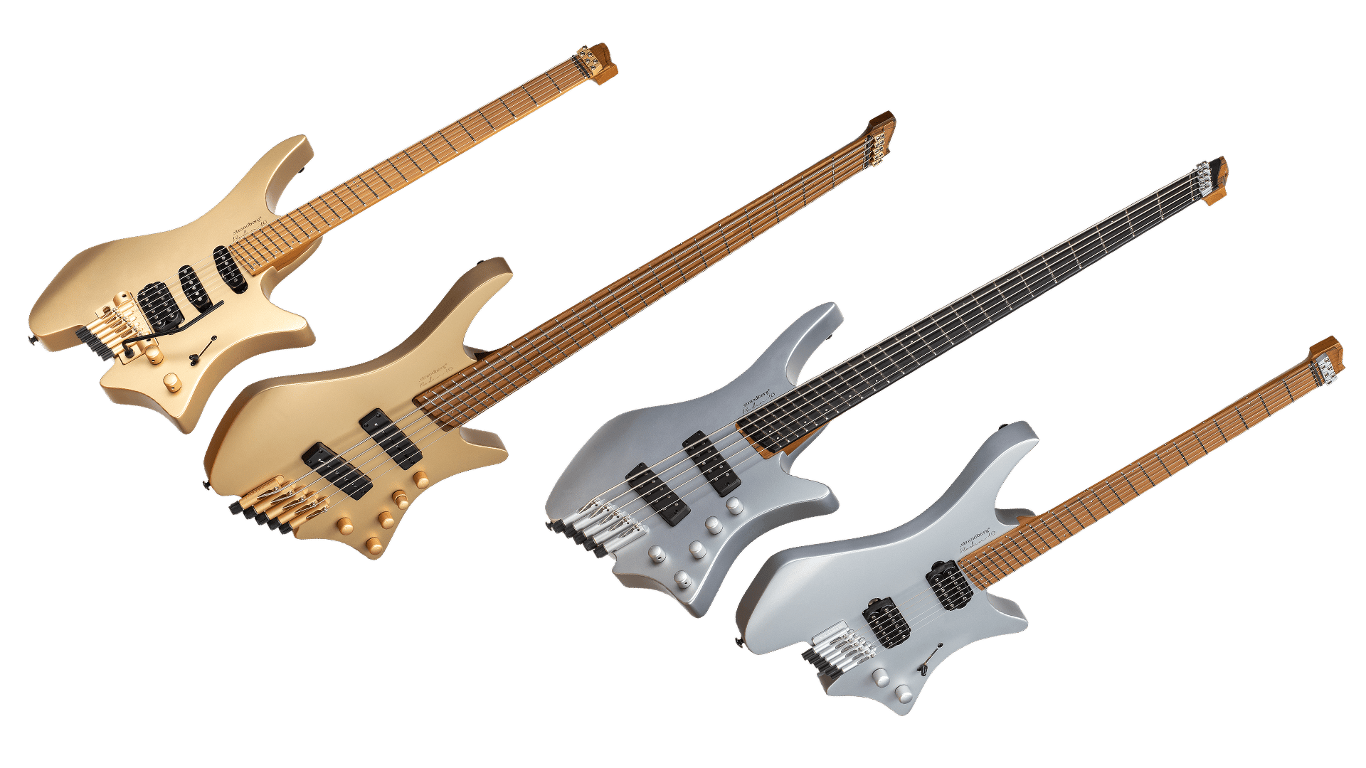 10th anniversary boden headless guitars 5 string and 6 string gold and silver front view
