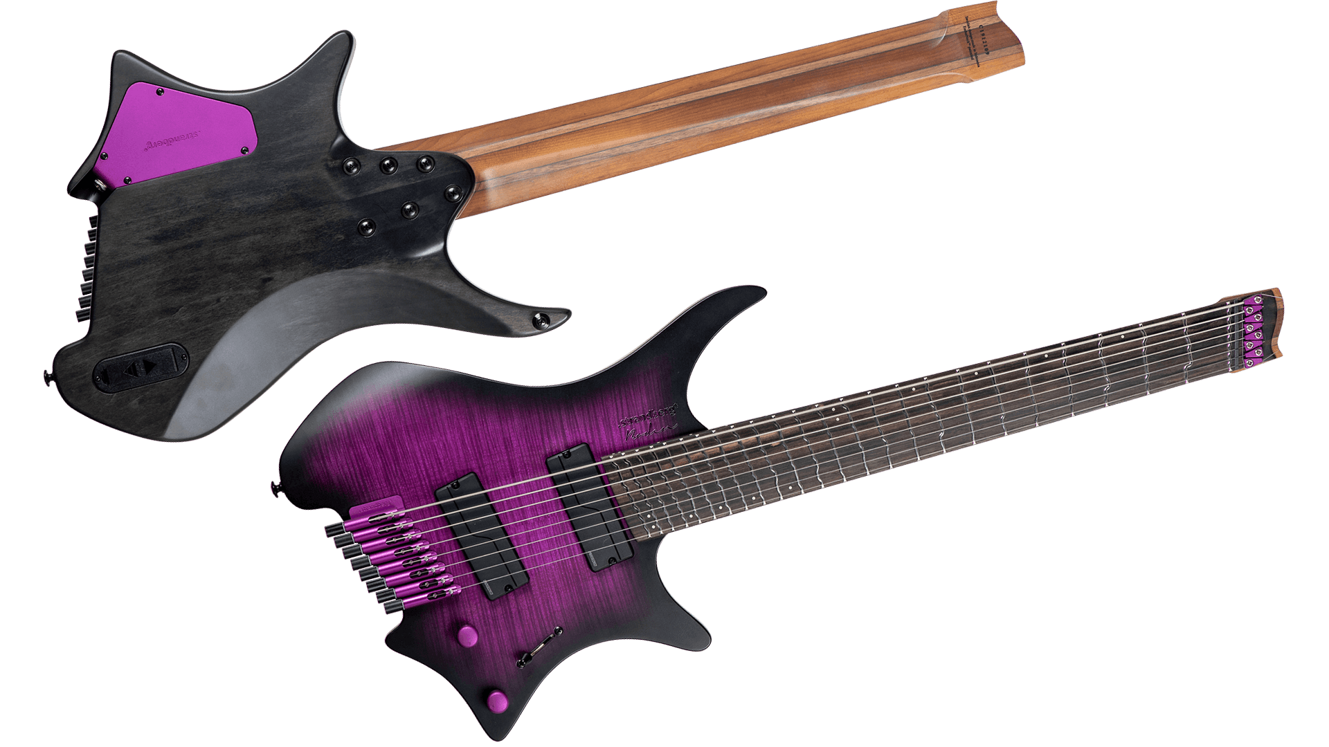 True temp purple 8 string headless guitar front and back view