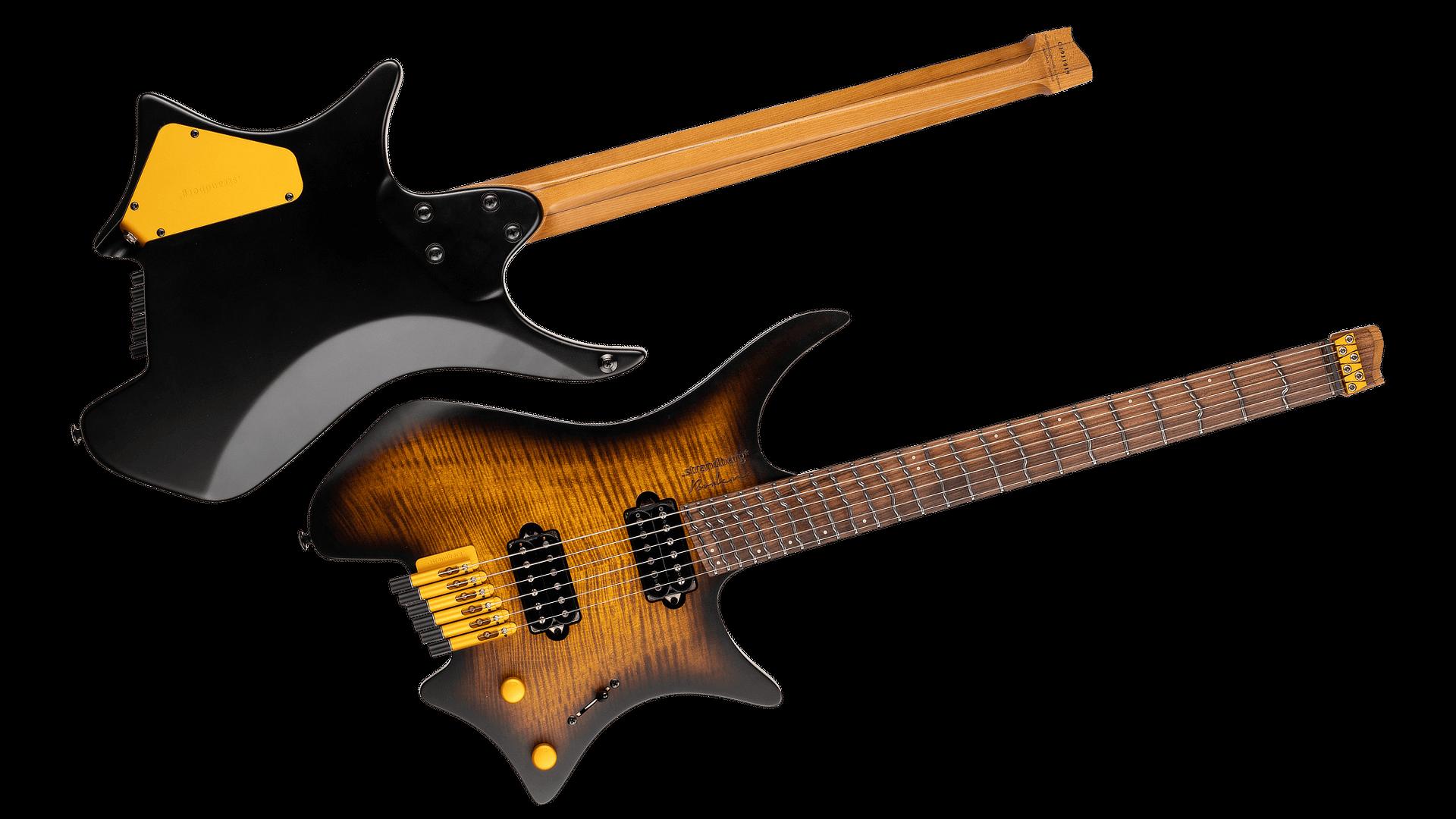 True Temperament Brown Burst 6 string headless guitar front and back view EndureNeck Fretboard