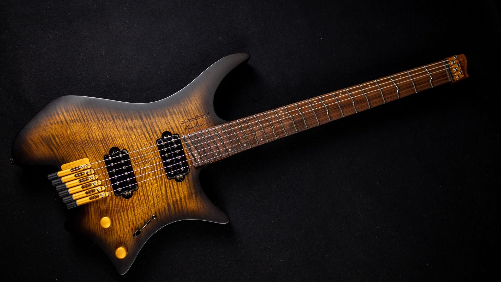 True Temperament Brown Burst 6 string headless guitar front view