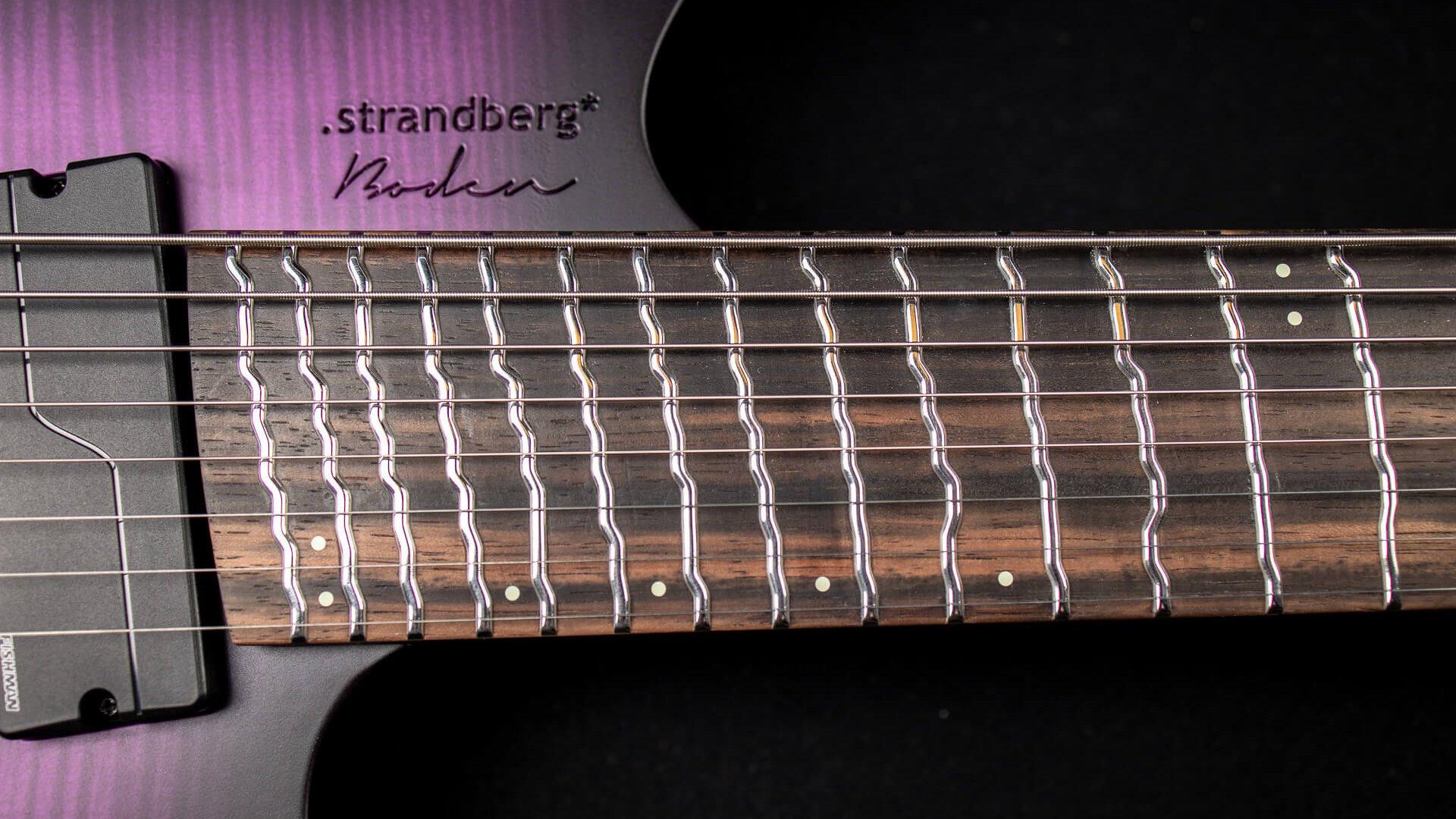 Boden true temperament headless guitar fretboard purple