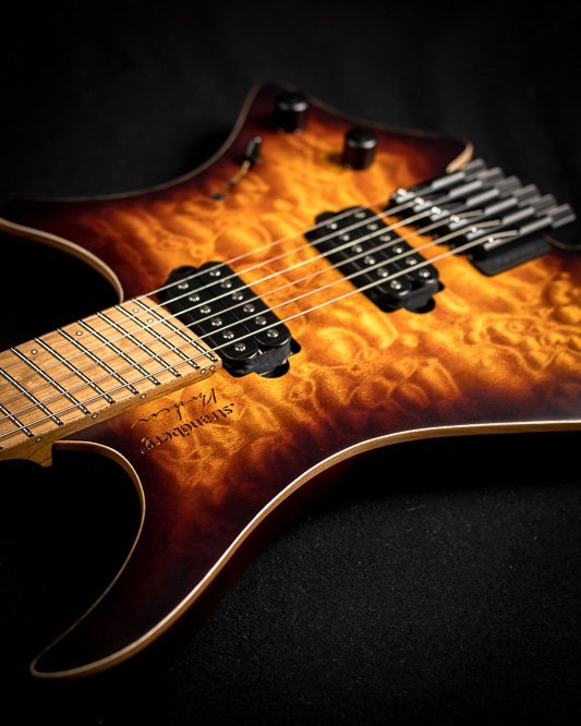 Headless guitar boden standard 6 string bengal burst front view