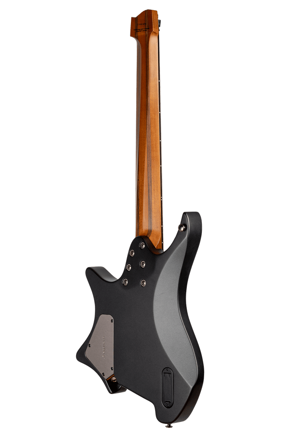 Headless guitar boden metal black 8 string multiscale back view