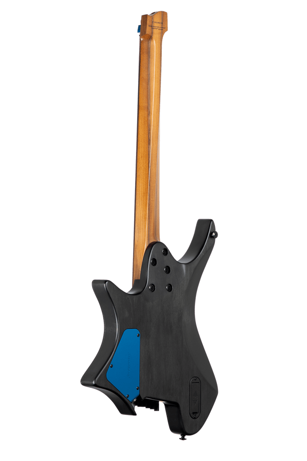 True Temperament blue burst headless guitar 7 string back view EndureNeck