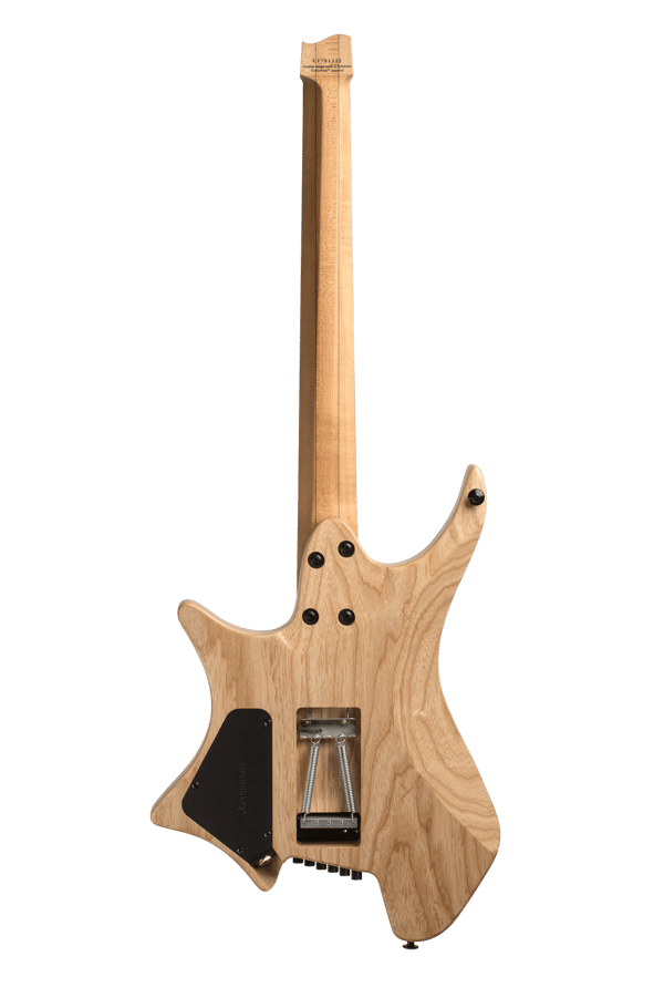 Headless Guitar Boden Prog Trem 7 string natural back view
