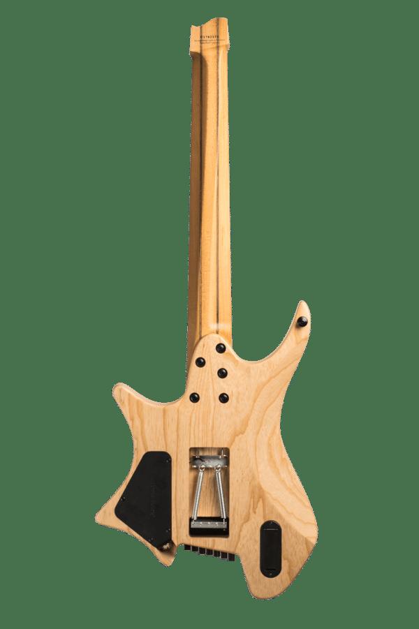 Headless guitar Boden Prog Trem 7 string natural back view