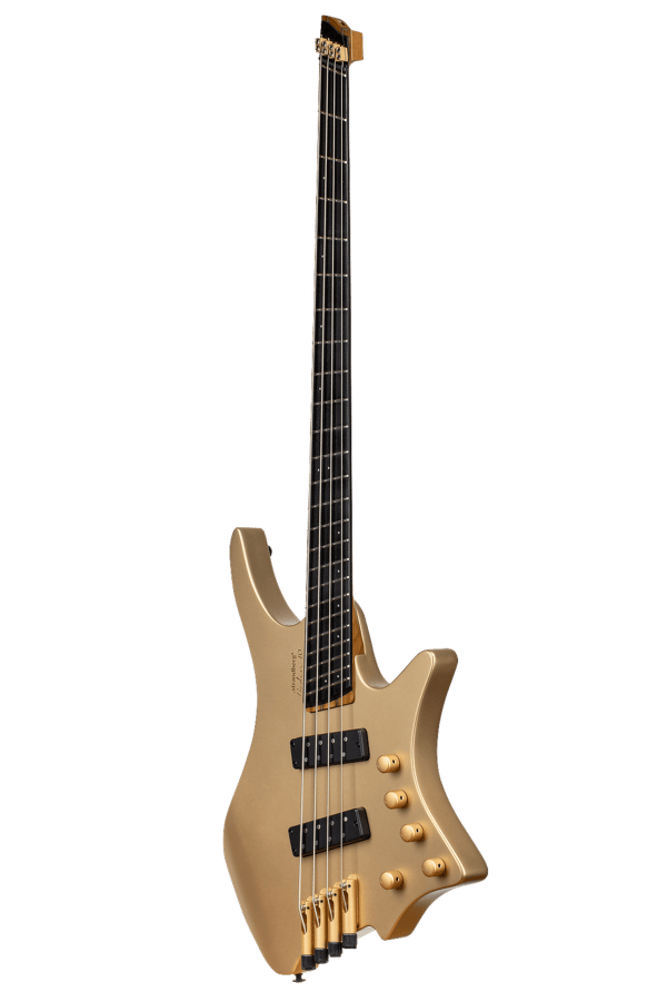Boden Bass 4string limited edition headless guitar gold front view