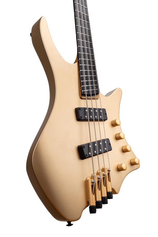 Boden Bass 4string limited edition headless guitar gold front body view