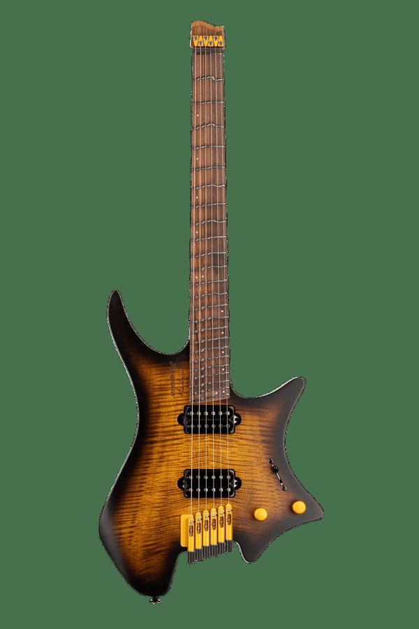 True Temperament Brown Burst 6 string headless guitar front view Fretboard