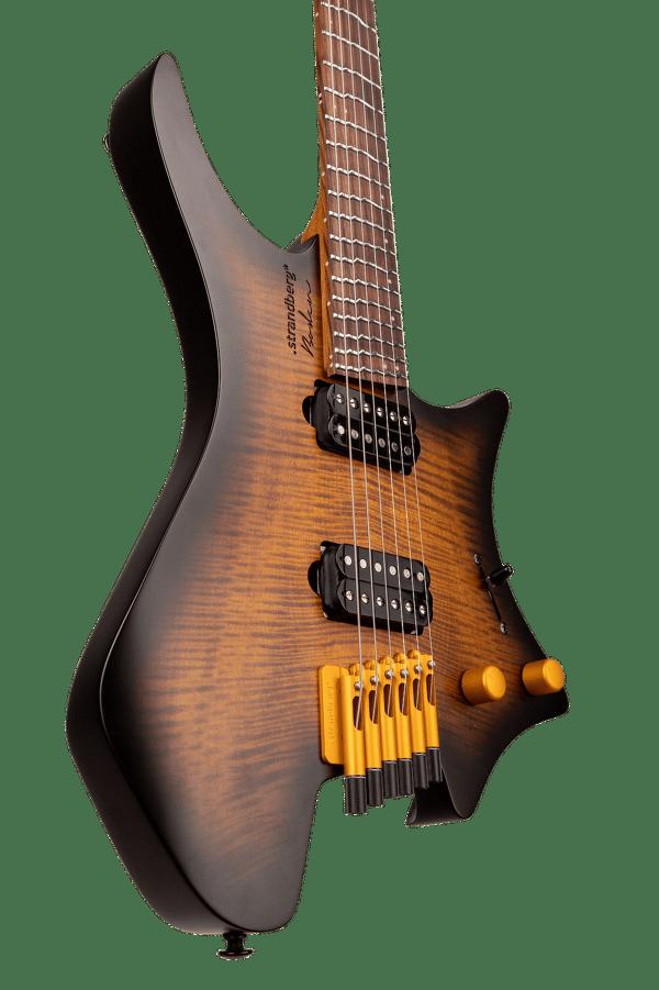 True Temperament Brown Burst 6 string headless guitar front view body