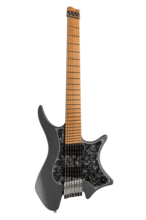 Boden Graphite Classic 7 featuring a black pearloid pickguard and roasted maple fretboard.