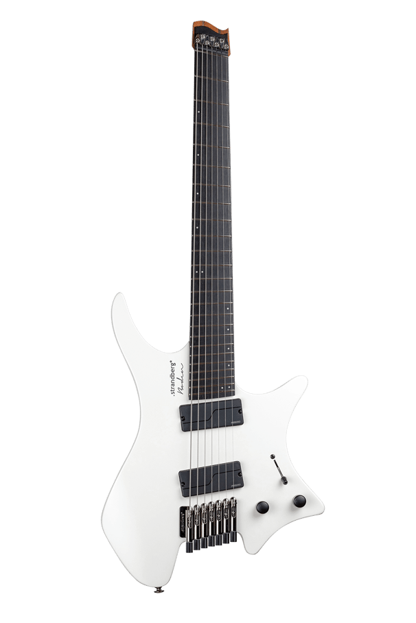 Headless guitar boden metal white 7 string multiscale front view