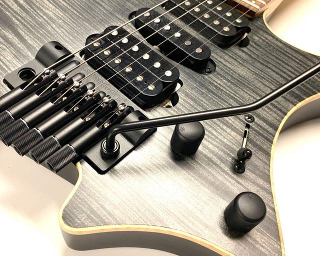 Strandberg headless trem guitar bridge cover closeup