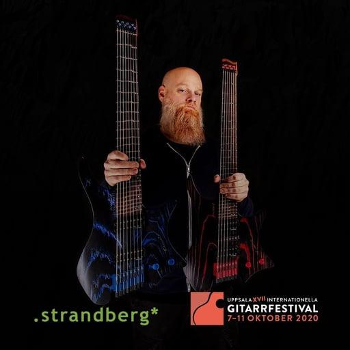 Per Nilsson holding strandberg sigularity guitar