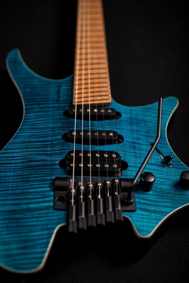 headless guitar standard 6 string tremolo maple flame blue