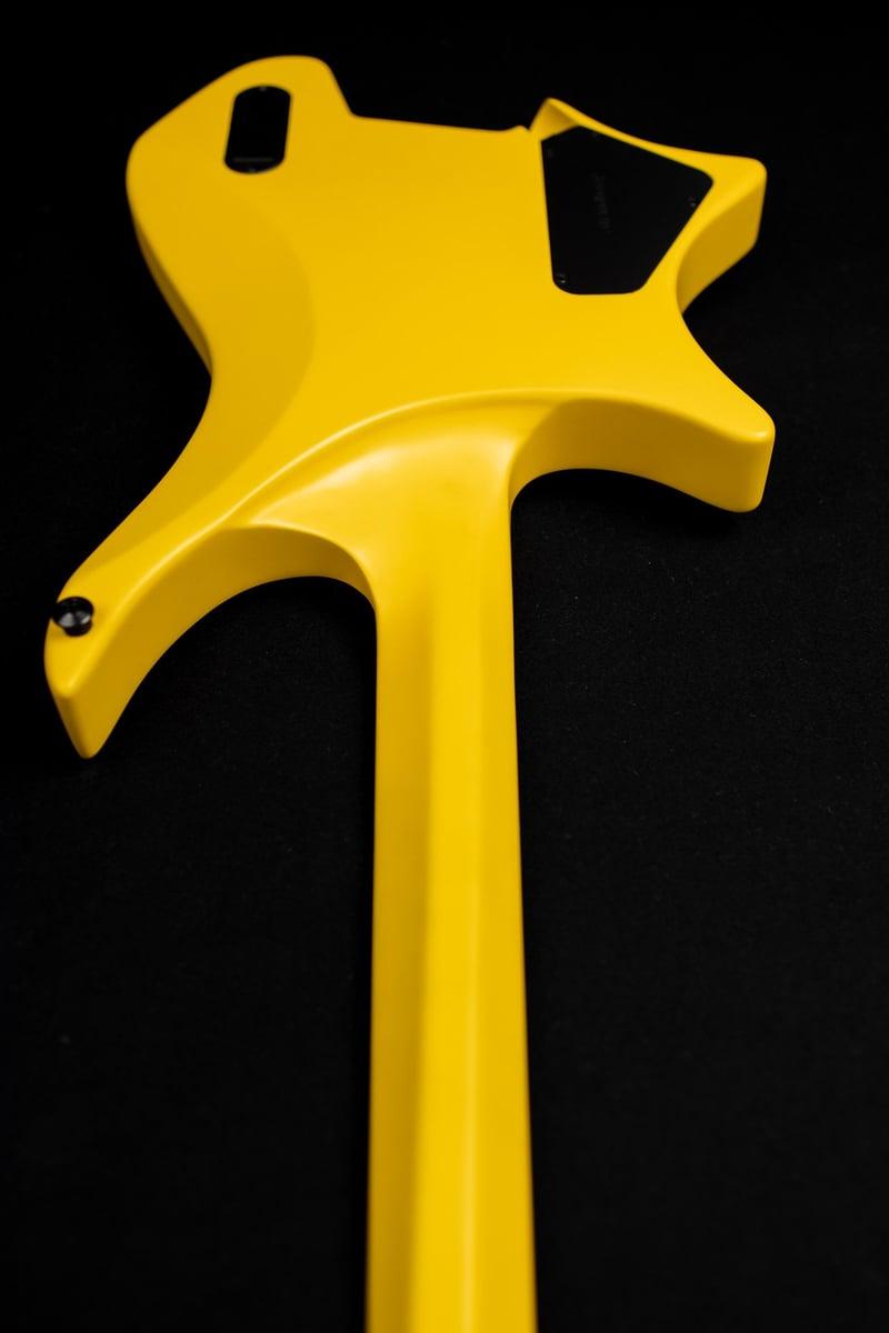 Headless Guitar Boden Metal 6 string yellow back view