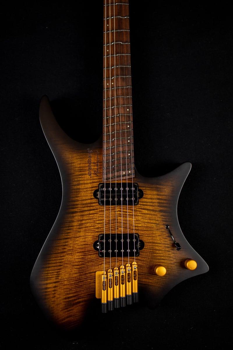 True Temperament brown burst headless guitar 6 string front view fretboard