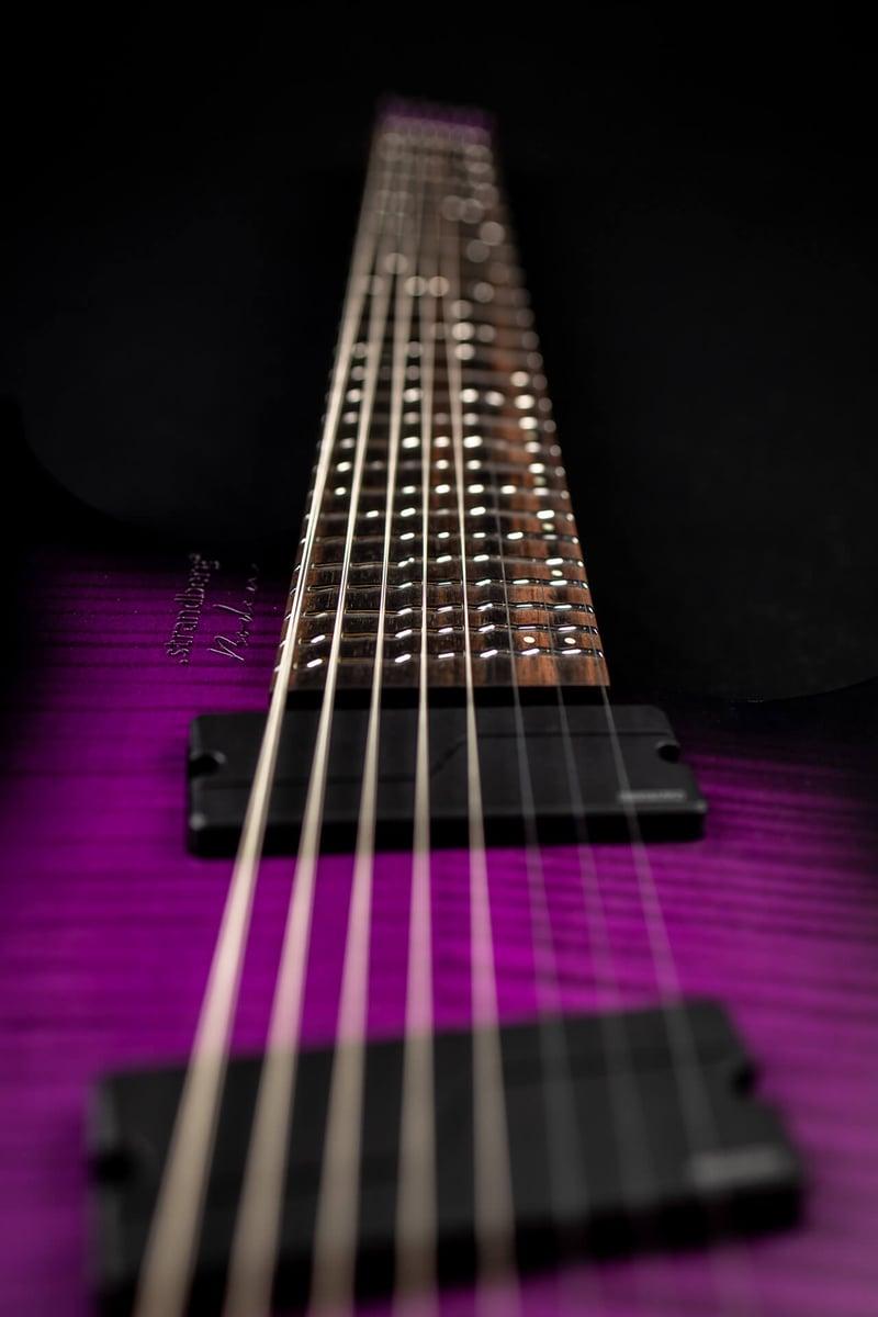 True Temperament purple headless guitar fretboard