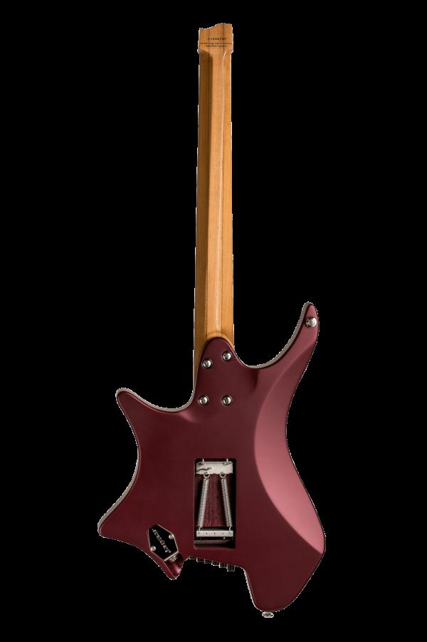 Headless guitar Boden classic 6 string trem burgundy mist back view