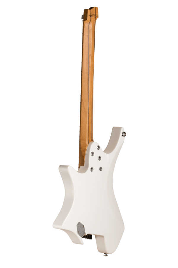 Headless guitar Boden classic 7 string ghost white back view