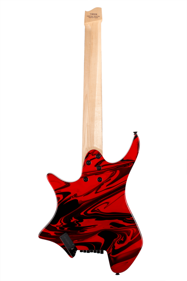 Headless Guitar Boden Singularity 7-string True Temperament Red Swirl back view