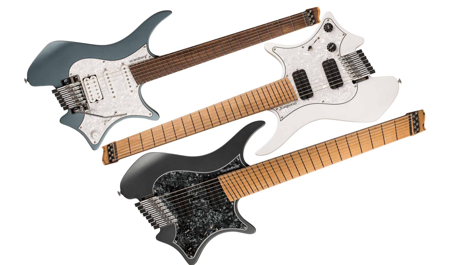 Family photo Boden Classic 6, 7, 8 string headless guitars