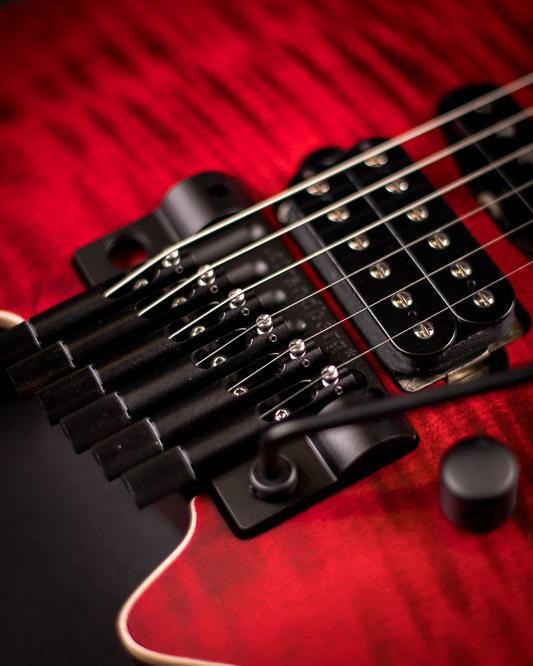 Headless guitar Boden Alex Machaek edition 6 string trem red closeup