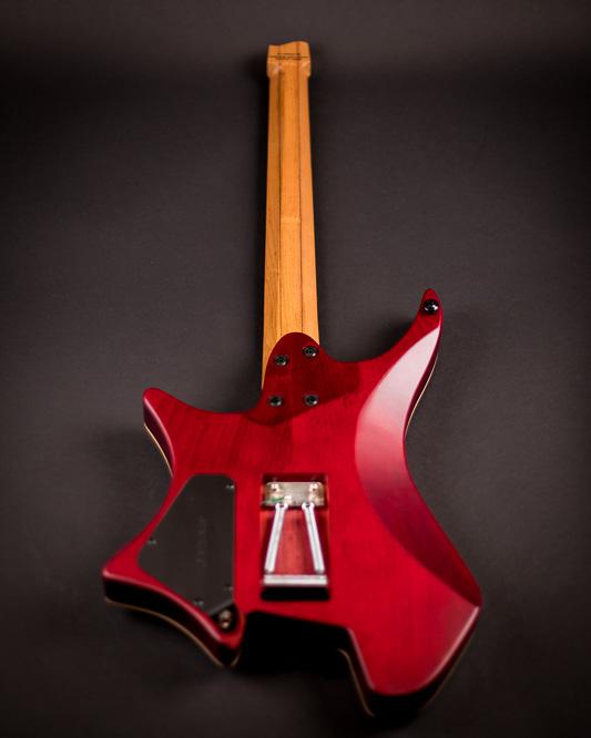 Headless guitar Boden Alex Machaek edition 6 string trem red back view