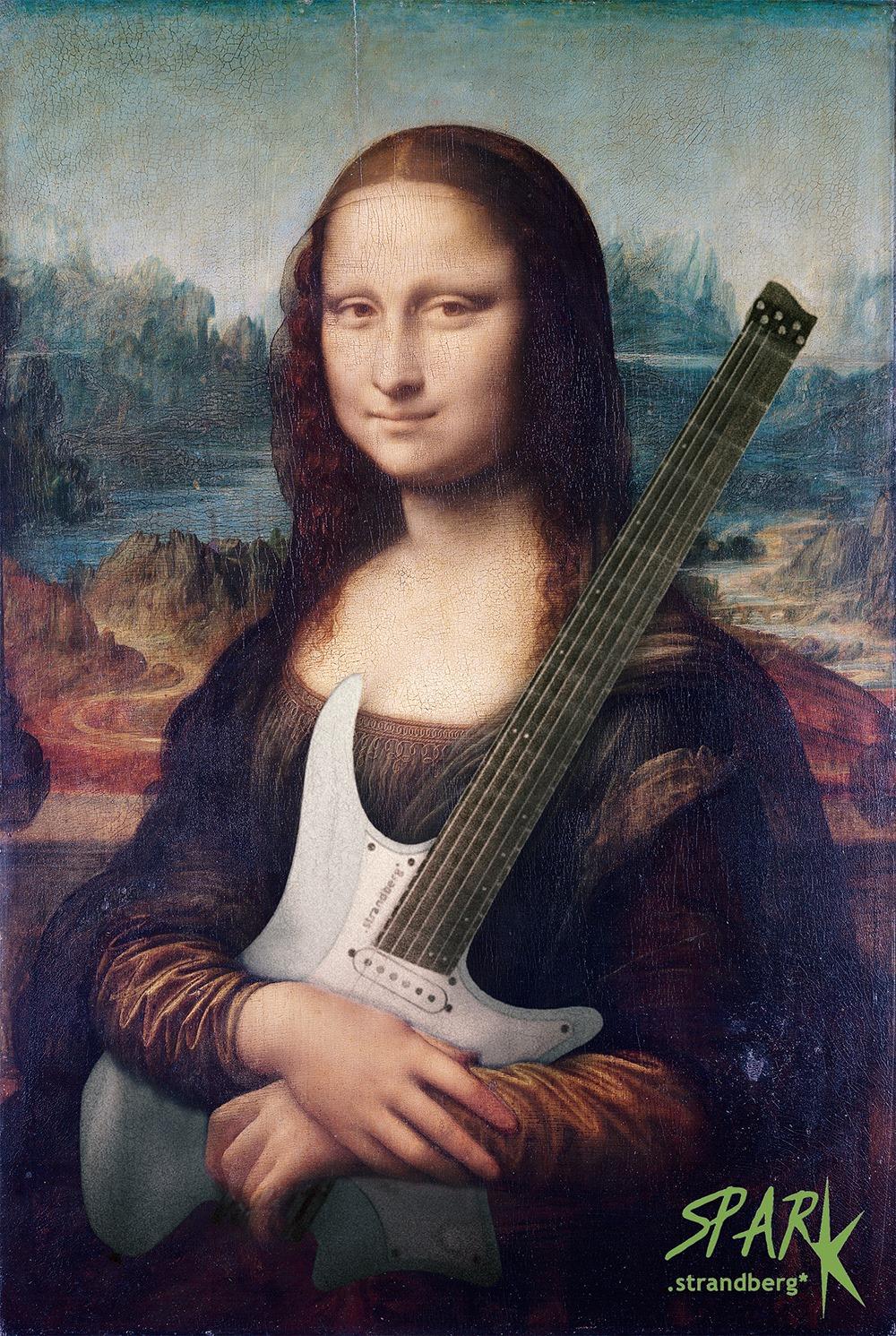 Mona Lisa holding a headless strandberg guitar