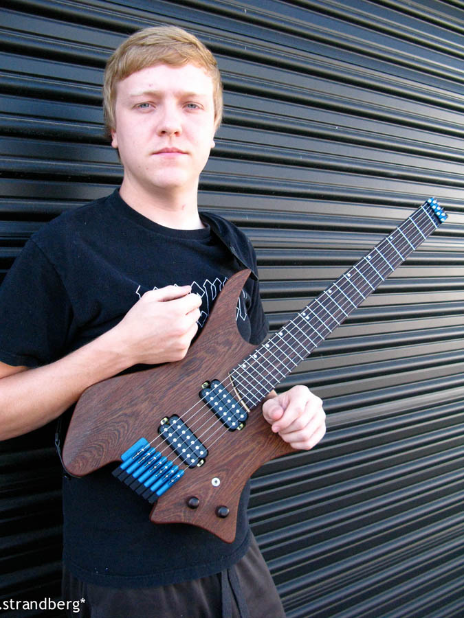 Chris Letcgford with headless strandberg guitar