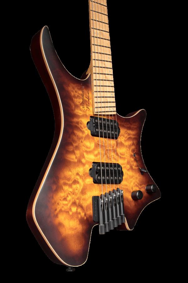 Headless guitar boden standard 6 string bengal burst front view