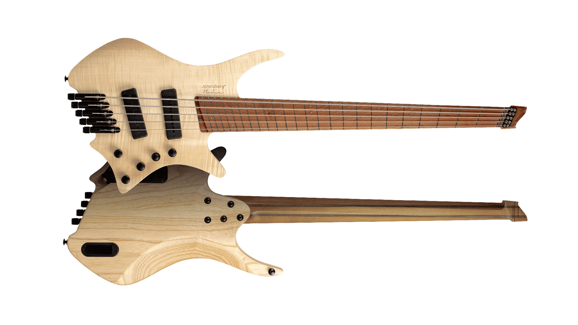 Headless boden BASS 4 string natural front & back view