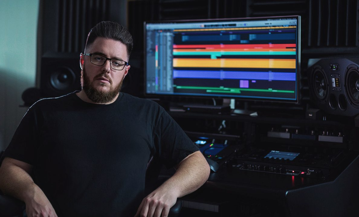 Simon Grove in studio