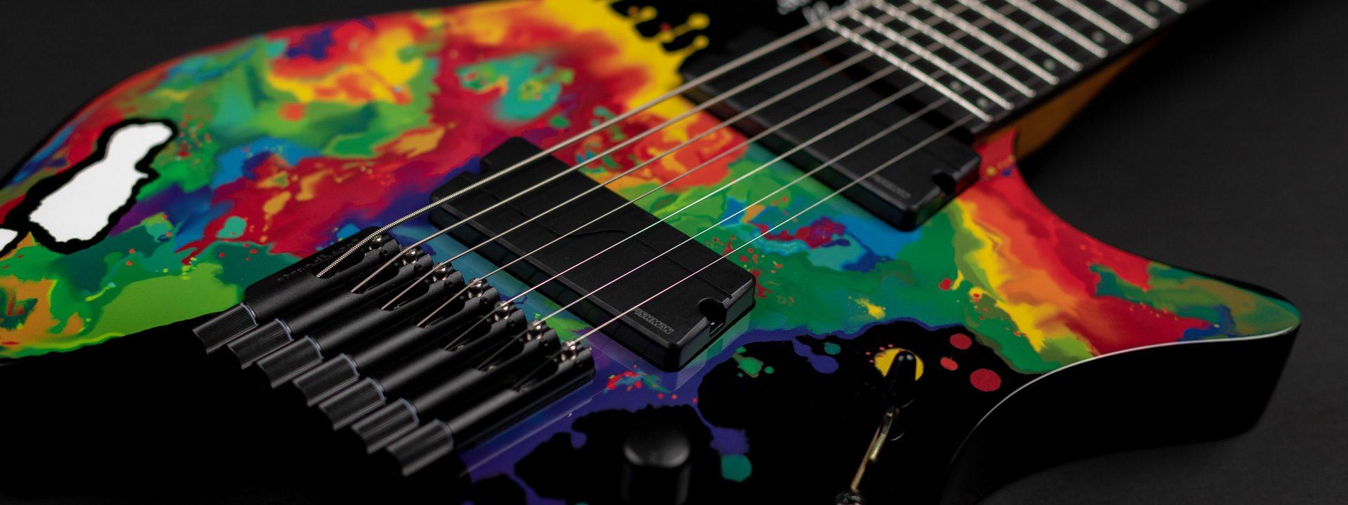 Sara longfiled signature headless guitar 7 string front view