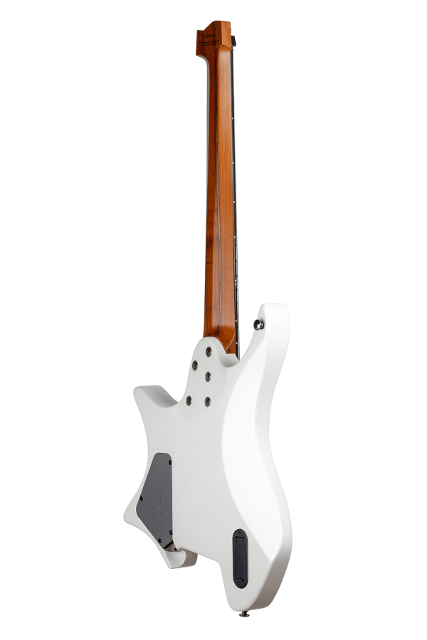 Headless guitar boden metal white 7 string multiscale back view
