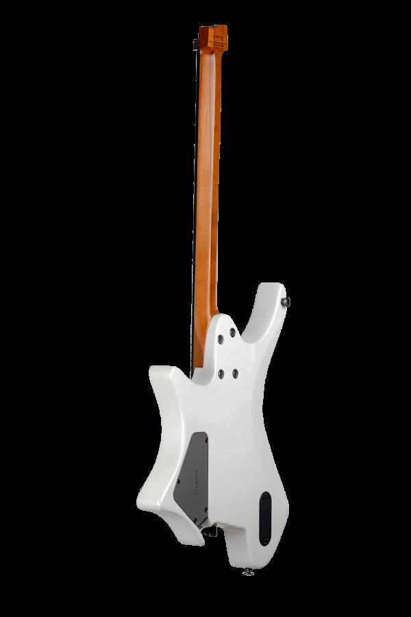 Headless guitar boden metal white 6 string back view
