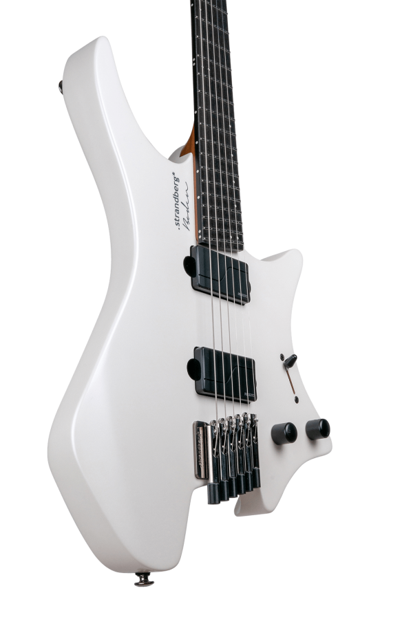 Headless guitar boden metal white 6 string front view