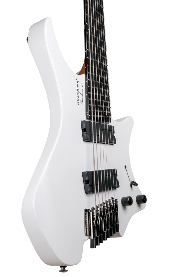 Headless guitar boden metal white 8 string multiscale front view