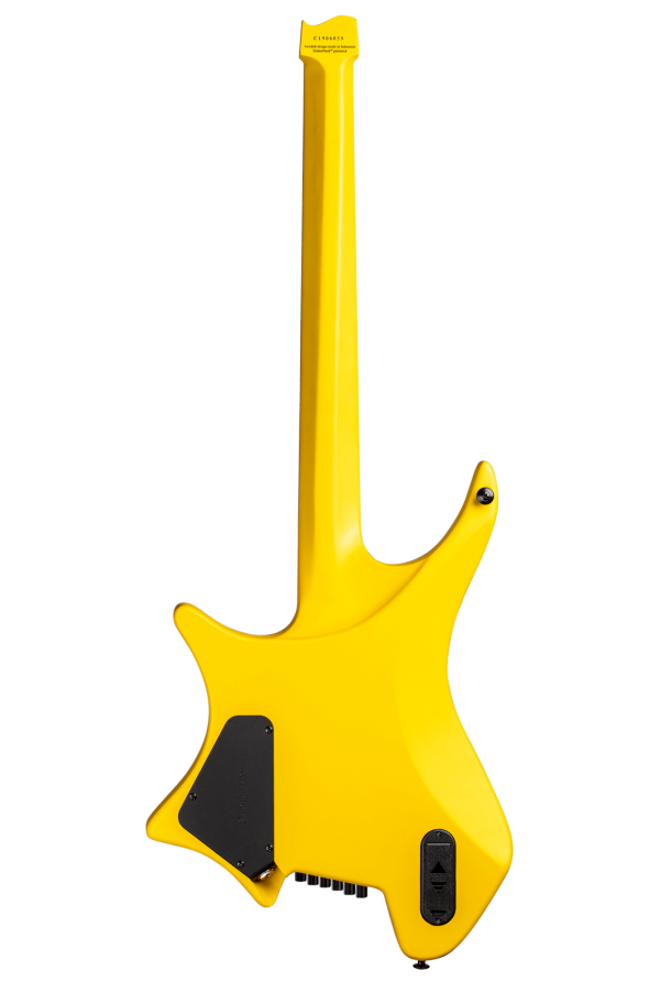 Headless Guitar Boden Metal 6 string yellow back view