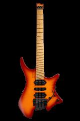 Headless Guitar Boden Metal 6 string trem orange front view