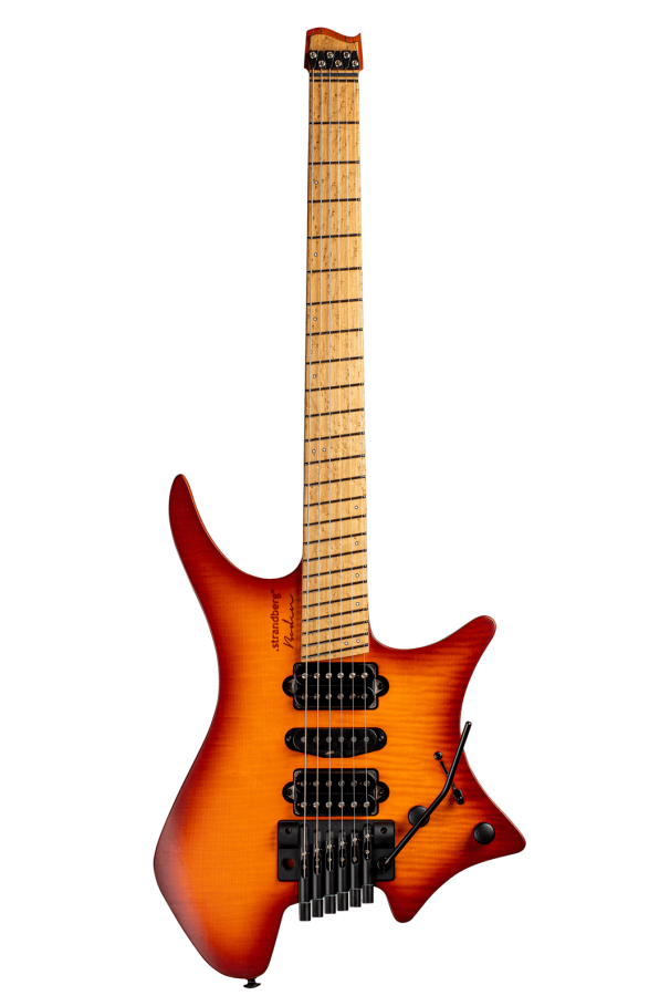 Headless Guitar Boden Metal 6 string trem orange front view